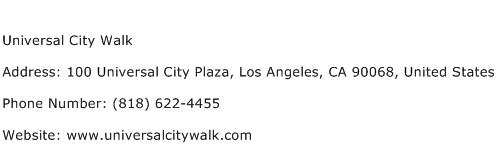 Universal City Walk Address Contact Number