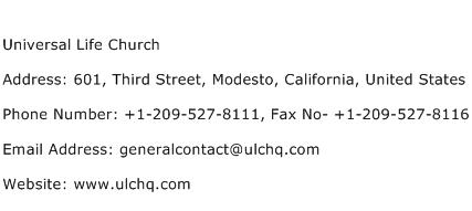 Universal Life Church Address Contact Number