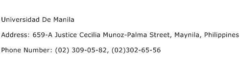 Universidad De Manila Address Contact Number