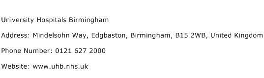 University Hospitals Birmingham Address Contact Number