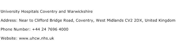 University Hospitals Coventry and Warwickshire Address