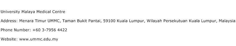 University Malaya Medical Centre Address Contact Number