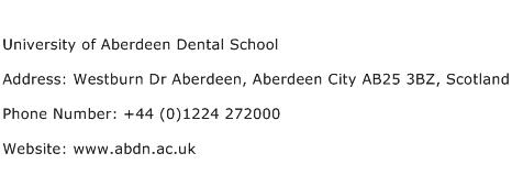 University of Aberdeen Dental School Address Contact Number
