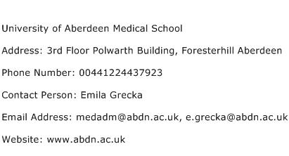 University of Aberdeen Medical School Address Contact Number
