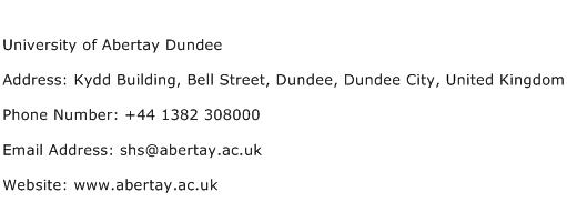 University of Abertay Dundee Address Contact Number
