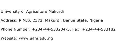 University of Agriculture Makurdi Address Contact Number
