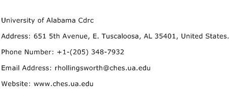 University of Alabama Cdrc Address Contact Number