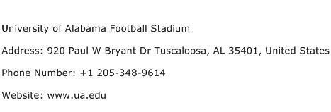 University of Alabama Football Stadium Address Contact Number