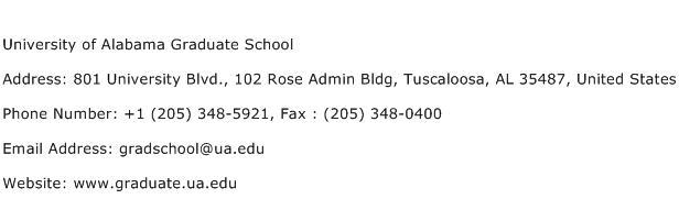 University of Alabama Graduate School Address Contact Number