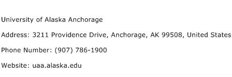 University of Alaska Anchorage Address Contact Number