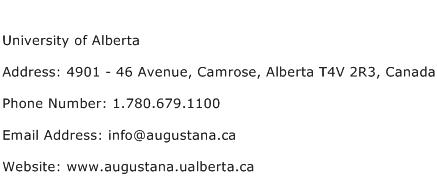 University of Alberta Address Contact Number