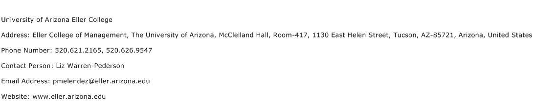 University of Arizona Eller College Address Contact Number