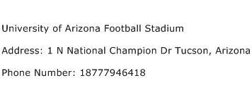 University of Arizona Football Stadium Address Contact Number