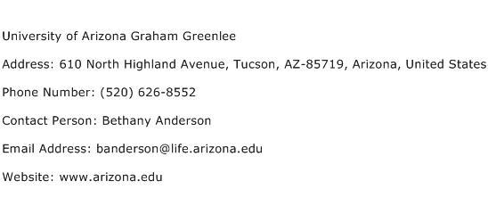 University of Arizona Graham Greenlee Address Contact Number