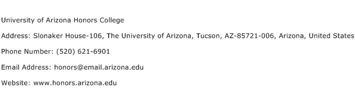 University of Arizona Honors College Address Contact Number