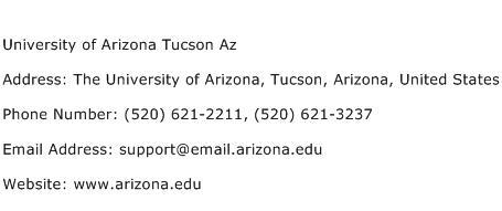 University of Arizona Tucson Az Address Contact Number
