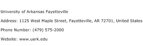 University of Arkansas Fayetteville Address Contact Number