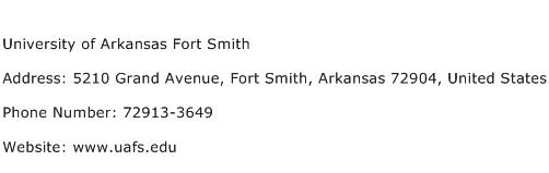 University of Arkansas Fort Smith Address Contact Number