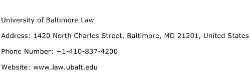 University of Baltimore Law Address Contact Number