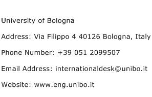 University of Bologna Address Contact Number