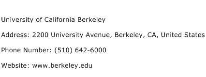 University of California Berkeley Address Contact Number