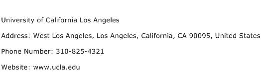University of California Los Angeles Address Contact Number