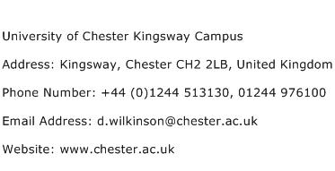 University of Chester Kingsway Campus Address Contact Number