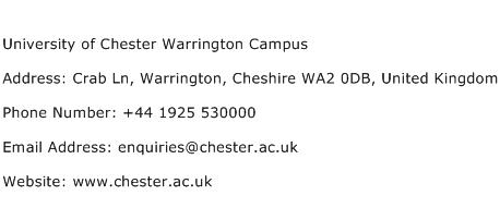 University of Chester Warrington Campus Address Contact Number