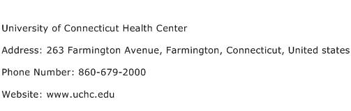 University of Connecticut Health Center Address Contact Number