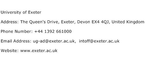University of Exeter Address Contact Number