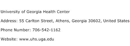 University of Georgia Health Center Address Contact Number