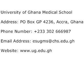 University of Ghana Medical School Address Contact Number