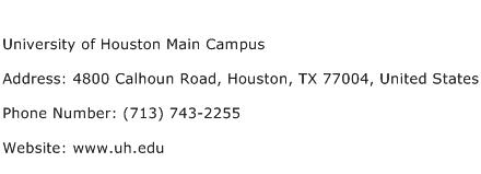 University of Houston Main Campus Address Contact Number