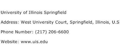 University of Illinois Springfield Address Contact Number
