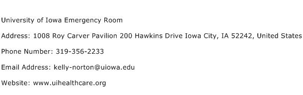 University of Iowa Emergency Room Address Contact Number
