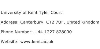 University of Kent Tyler Court Address Contact Number
