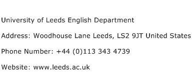 University of Leeds English Department Address Contact Number