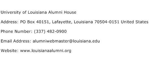 University of Louisiana Alumni House Address Contact Number