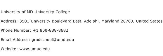 University of MD University College Address Contact Number