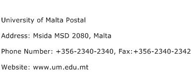 University of Malta Postal Address Contact Number