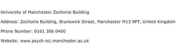 University of Manchester Zochonis Building Address Contact Number
