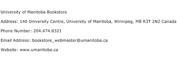 University of Manitoba Bookstore Address Contact Number