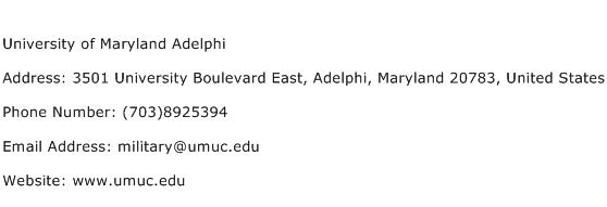 University of Maryland Adelphi Address Contact Number