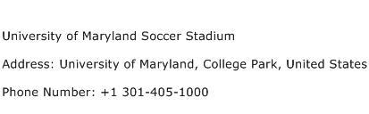 University of Maryland Soccer Stadium Address Contact Number