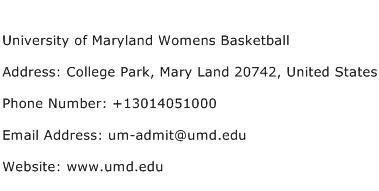 University of Maryland Womens Basketball Address Contact Number