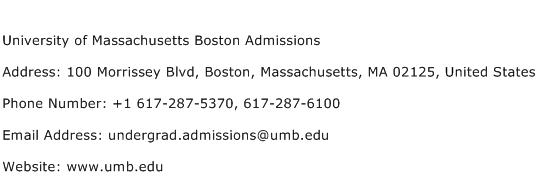 University of Massachusetts Boston Admissions Address Contact Number