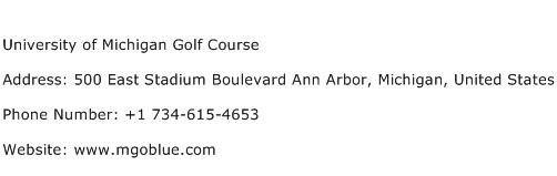University of Michigan Golf Course Address Contact Number