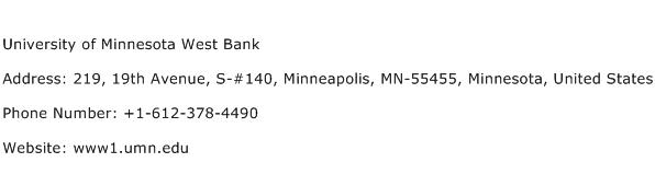University of Minnesota West Bank Address Contact Number