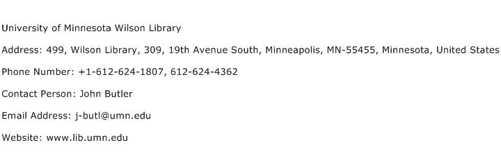 University of Minnesota Wilson Library Address Contact Number