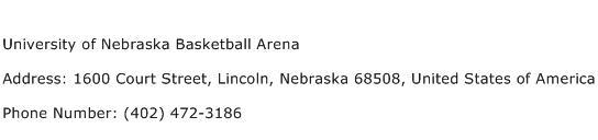 University of Nebraska Basketball Arena Address Contact Number